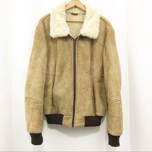 Vintage Suede Sherpa Bomber Jacket Sheepskin